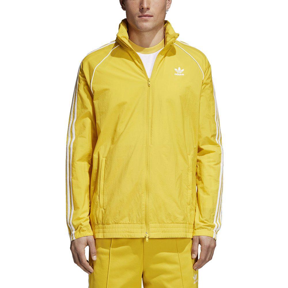 Compasión Judías verdes Volverse  Adidas Men's SST Windbreaker Tribe Yellow 3 Stripe Jacket CW1312 - WOOKI.COM