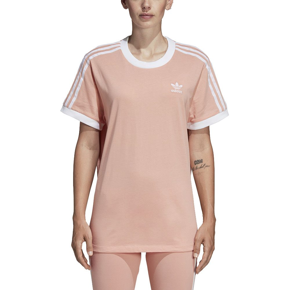 Details about Adidas Originals Women's 3-Stripe Tee Dust Pink Shirt DV2583  NEW